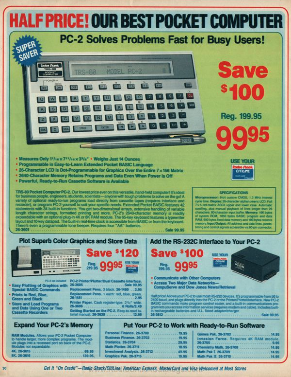 The PC-2 and the Radio Shack catalogs - PC-1500 info